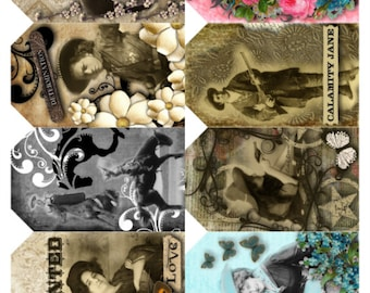 Cowgirl Western Tags, Women, Old West Vintage Photos Full Color, Vivid Collage Sheet -   Digital Download JPG file by Swing Shift Designs