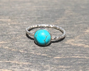 Turquoise Ring with Twisted Band