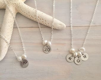 Floating Pearl Charm Necklace - Custom Hand Stamped - Personalized Initial Necklace - Pearl Charm Necklace - Stamped Charm Necklace