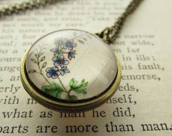 Necklace Flower of the Month Round Pendant Two Sided Your Choice of Flowers