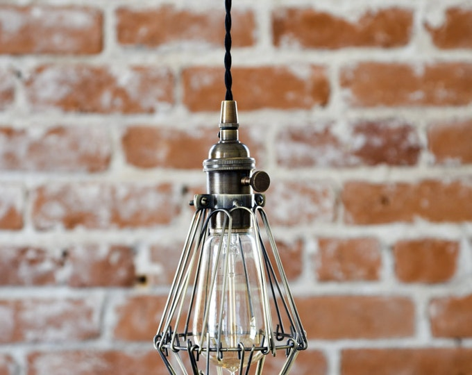 Pendant lights illuminatevintage industrial antique brass cage wire hanging pendant light handmade with plug switch edison lighting plug in mozeypictures Image collections