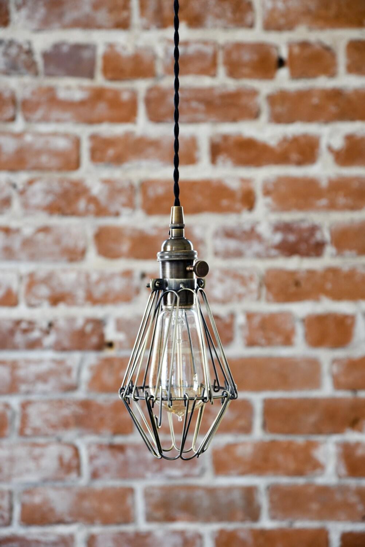 Wiring Ceiling Light To Plug Wire Center Industrial Antique Brass Cage Hanging Pendant Handmade Rh Illuminatevintage Com Multiple Lights Diy
