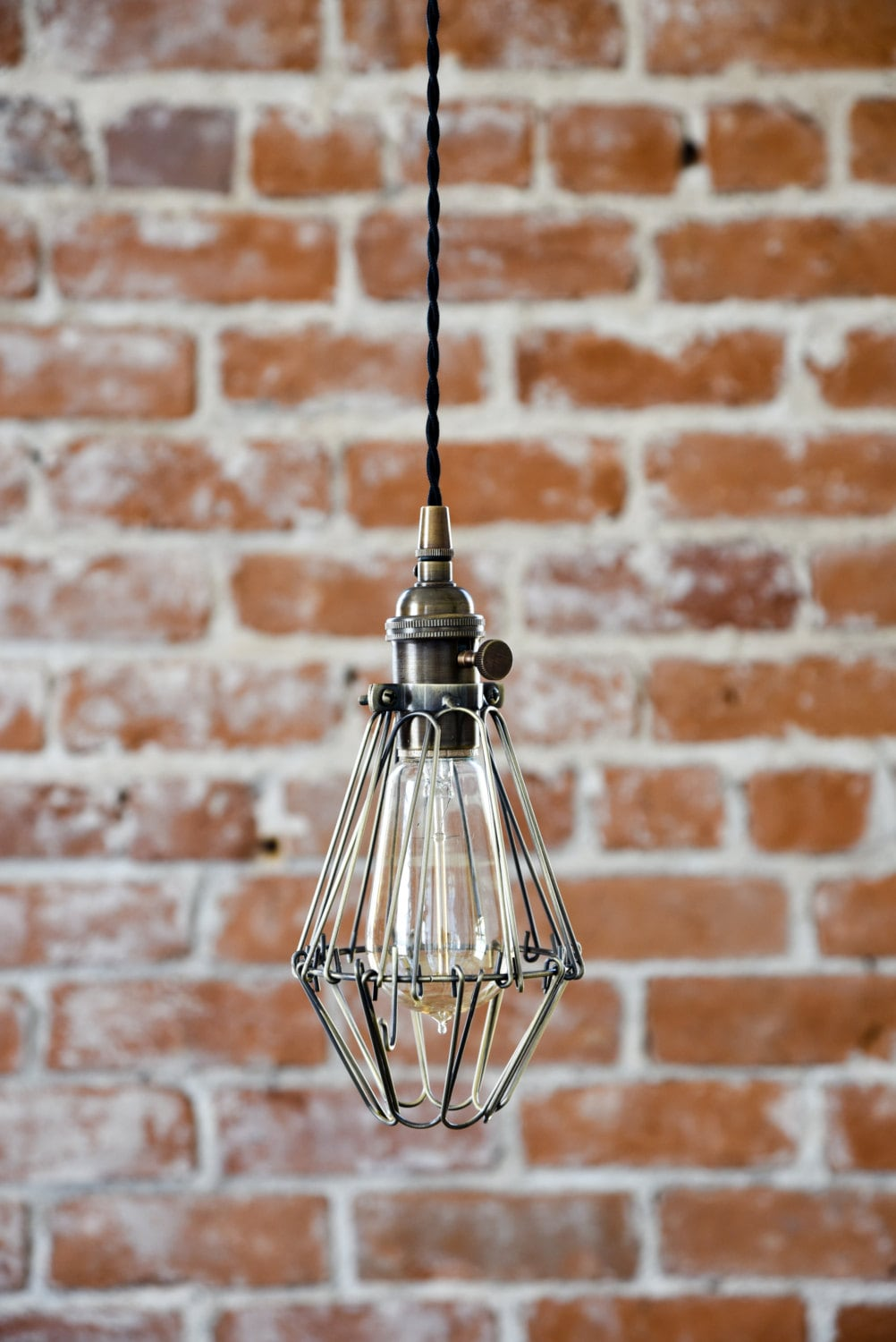 Free shipping industrial antique brass cage wire hanging pendant industrial antique brass cage wire hanging pendant light handmade with plug switch edison lighting plug in pendant light mozeypictures Gallery
