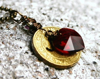 San Francisco, CA Transit Token Necklace with Swarovski Crystal Heart Antiqued Brass California Cable Car Trolley Unisex Mens Dudes