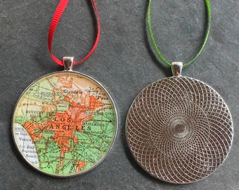Los Angeles Map Ornament  50mm  Handcrafted for Holiday or Housewarming Gift for Travelers or  Tree Trimmer California Atlas