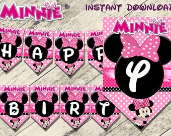 minnie mouse banner,minnie mouse birthday banner,minnie mouse party, guirnaldas minnie mouse,minnie banner,minnie birthday baner,minnie art