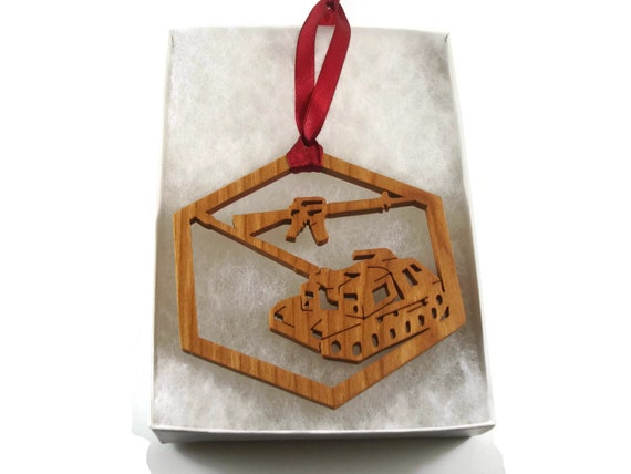 Military Tank And Machine Gun Christmas Ornament Handmade From Cherry Wood By KevsKrafts, Army Tank, Military Vehicle,