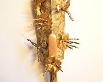 Gold Leaf & Glitter Bird Flower Assemblage