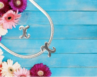 Lowercase 'x' Sterling Silver Charm Necklace With Gift Box