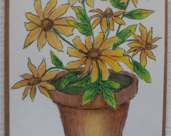 Watercolor Black Eyed Susans Card Watercolors and Ink Cards Black Eyed Susan Card Black Eyed Susans Flower Pot Card Greeting Cards