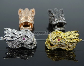 Clear Zircon Gemstones Pave Dragon Head Bracelet Connector Charm Beads Silver Gold Rose Gold Gunmetal