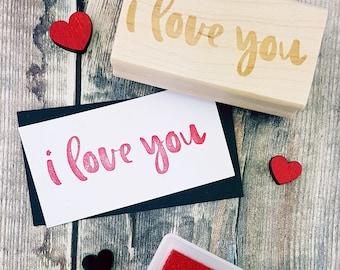 I Love You Rubber Stamp Script Text  - Love Stamper - Wedding Gift - DIY Wedding - Handmade Wedding Invites - Valentines - Couples gift