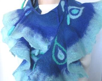 Felted scarf, Ruffled scarf, Art to Wear,Arabesque,Merino wool wrap,Wearable Art Accessory,Ruffled shawl