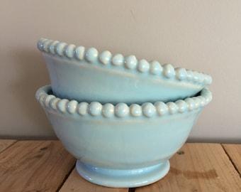 Set of 2 Sky Blue Beaded Bowls