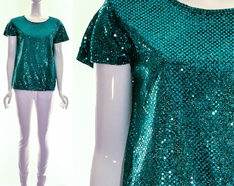 Vintage 70s Disco Green Sequin Sparkly Top Ariel Mermaid Blouse Flutter Sleeves Small Medium