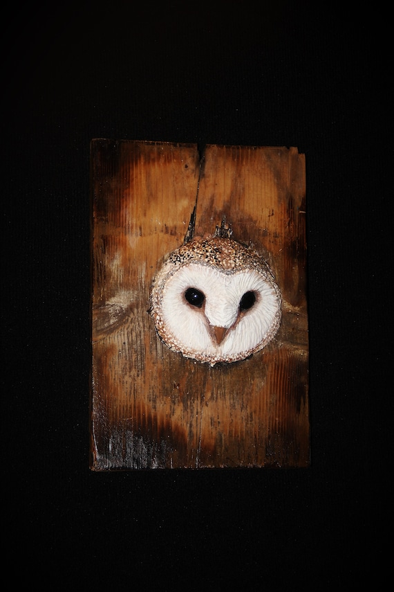 Owl Wood Bird Carving Sculpture - OOAK -  Hand Carved and Sculpted
