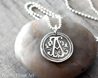 Personalized Wax Seal Initial Necklace - Custom Initial Necklace - Sterling Silver Monogram Necklace