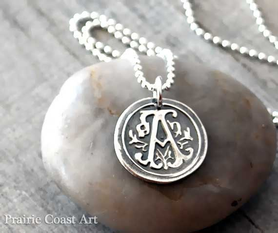 Personalized wax seal initial necklace custom initial description monogram silver wax seal initial necklace aloadofball Gallery