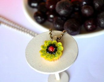 Polymer clay fruit tart necklace-kiwi/blueberries/rasberry
