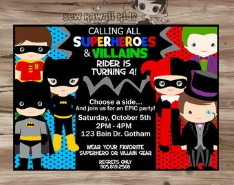 SUPERHEROES VILLAINS Invitation Superhero and Villain Invitation, Superhero Villain Invite Birthday Invitation - Digital Printable: JPG File