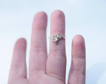 Engagement Ring Raw Gemstone Jewelry White Raw Diamond Engagement Ring Organic Rough Wedding Ring Dainty Boho Avello Graduation
