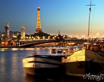 "Paris Wall Art | ""Evening On the Seine"" | Paris Fine Art | Paris Photo - Seine Eiffel Tower - Paris Seine Photo - Paris Travel Photo"