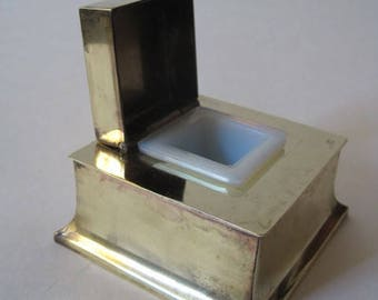 Square Brass Inkwell with Hinged lid and insert - K & O Co. - Vintage - Ink Well