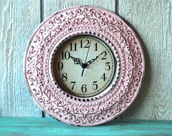 Shabby Chic Wall Clock - Pink Distressed - French Country Wall Decor - Hollywood Regency - Home Decor - SALE