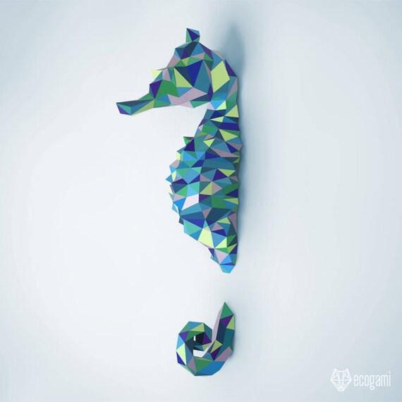 Sea horse papercraft pdf diy wall mount 3d seahorse solutioingenieria Image collections
