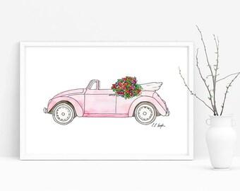 Watercolor Car Illustration, pink convertible bug, vintage car, beach decor, nursery decor, gift for her, millennial pink, fine art, art