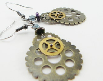 gear heads mixed metal earrings , industrial , steampunk lite earrings