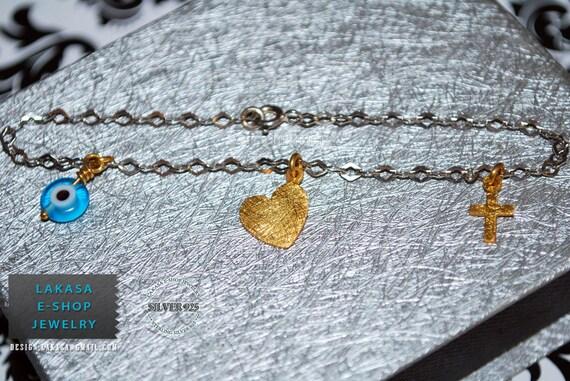 Heart Bracelet Sterling Silver Gold plated Jewelry Chain with Cross Eye Woman Valentine Anniversary Christening ideas Newborn baby girl boy