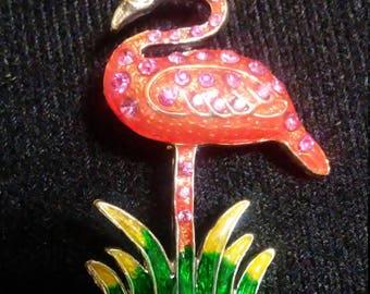 Vintage Pink Flamingo Brooch/Pin Rhinestone and Enamel set in gold tone base Signed