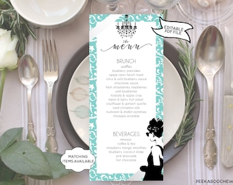Breakfast at Tiffany's BRUNCH MENU Printable Editable Bridal Shower Baby Shower Engagement Birthday Party Bachelorette Audrey Hepburn PCBTPS
