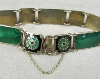 Sterling Silver and Green Enamel Link Bracelet