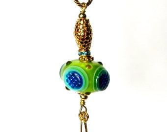 Glass Pendant, Green Glass, Submarine, Funky Necklace, Lampwork Pendant, Glass Pendant, Tassel Keychain, Handbag Accessories, Planner Charm