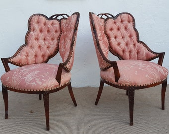 Italian Hollywood Regency  Sculptural  Wing Back  Chairs A Pair.