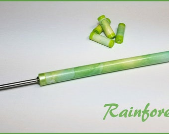 "Rain Forest Paper Bead Roller / Tool from the Watercolor Collection- Your Choice 1/8"" or 3/32"" - Tutorial Included"
