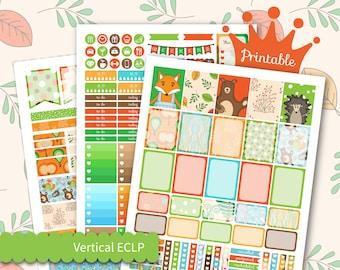 Woodland Animals Planner Stickers for EC Vertical Weekly Planner Kit fits Erin Condren Printable Weekly Stickers Kit Cute Planner Kit