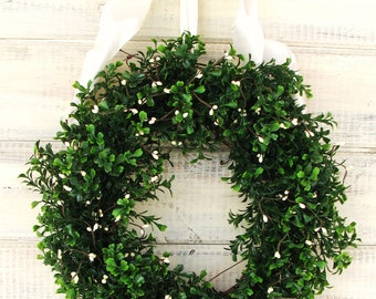 X-LARGE COUNTRY COTTAGE Boxwood Wreath-Boxwood Wreath-Fireplace Mantel Wreath-Christmas Wreath-Year Round Outdoor Wreath-Scented Wreaths