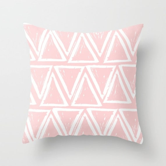 OUTDOOR Throw Pillow . Blush Pink Outdoor Pillow . Pink patio cushion . Modern Geometric Pillow Triangle . 16 18 20 inch . Rectangle Pillow