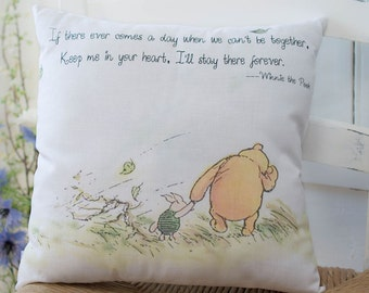Winnie the Pooh Pillow White pillow 'Keep Me In Your Heart' Quote Nursery Decor Friendship or Moms Gift gift for her, gift for best friends