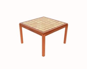 Teak Coffee Table with Tile Top Sofa Table Danish Modern 60s