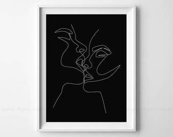Single Line Art Print : Drawing print etsy