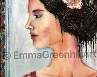 """Emma Greenhill Art print """"The Wedding"""""""" Matted print on heavy watercolor paper"""