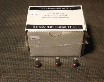 Hard Cast Bullets, 11MM Mauser, .446 Diameter , Quantity 100