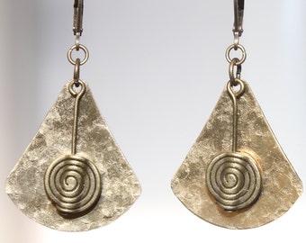 Hammered Brass Earrings African Ethnic Earrings Metal Earrings Bohemian Earrings Dangle Drop Boho Earrings Jewelry Birthday Gift For women
