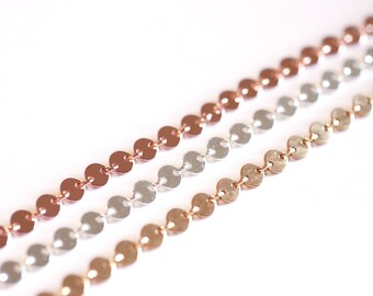 14K Gold Filled 4mm Sequin Disc Chain- Gold Filled Round Disc Circle Chain, Chain by foot, 4mm Sterling Silver Round Circle Disc Chain, Bulk