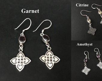 Handmade Pan Close Net Design Amethyst / Citrine/ Garnet Earrings, 925 Sterling Silver Jewelry, Style, Fashion, Dangling