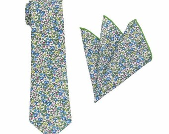 Green and Aqua Blue Floral Tie.Mens Floral Tie.Wedding Tie